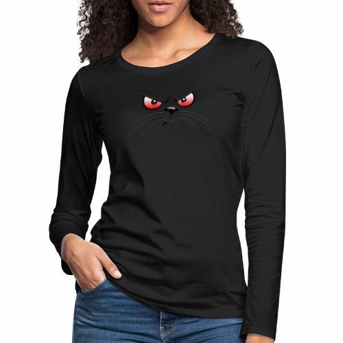 GATTO ARRABBIATO OCCHI ROSSI - ANGRY CAT RED EYES - Maglietta Premium a manica lunga da donna