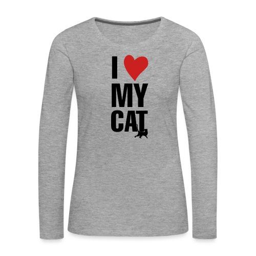 I_LOVE_MY_CAT-png - Camiseta de manga larga premium mujer