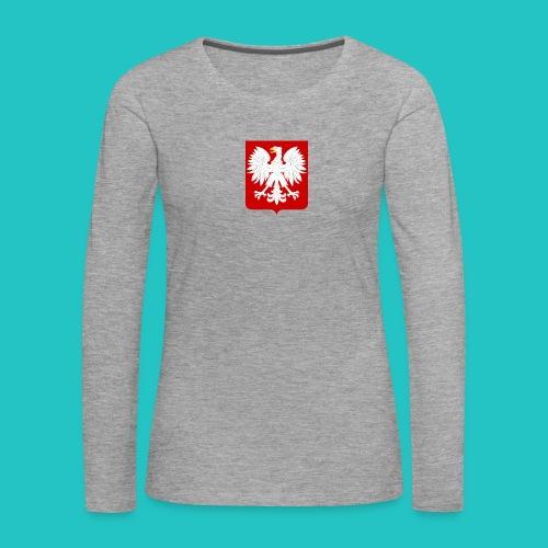 Koszulka z godłem Polski - Koszulka damska Premium z długim rękawem