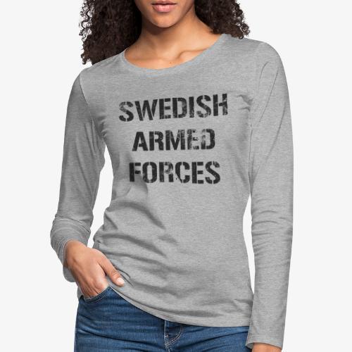 SWEDISH ARMED FORCES Rugged + SWE Flag - Långärmad premium-T-shirt dam