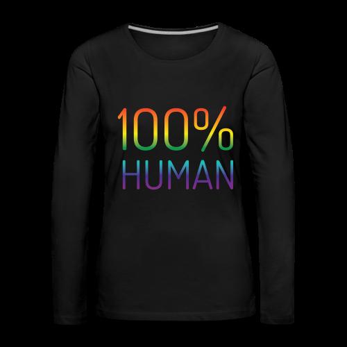 100% Human in regenboog kleuren - Vrouwen Premium shirt met lange mouwen