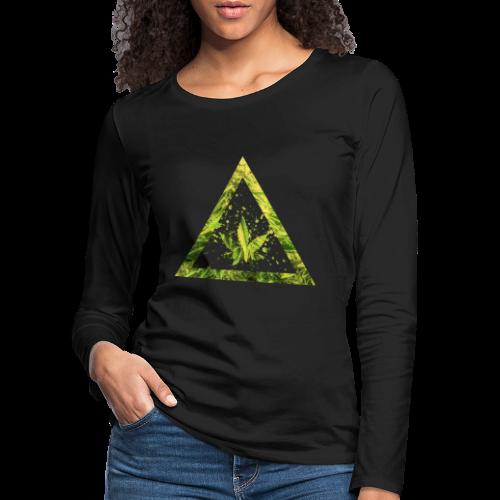 Marijuana Cannabisblatt Triangle with Splashes - Frauen Premium Langarmshirt