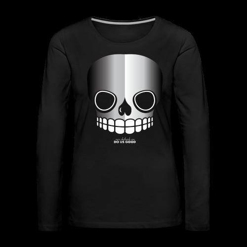 JUST SKULL bw - Naisten premium pitkähihainen t-paita