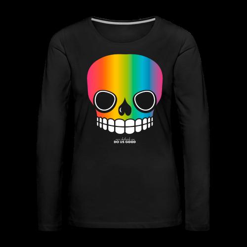 JUST SKULL rainbow - Naisten premium pitkähihainen t-paita