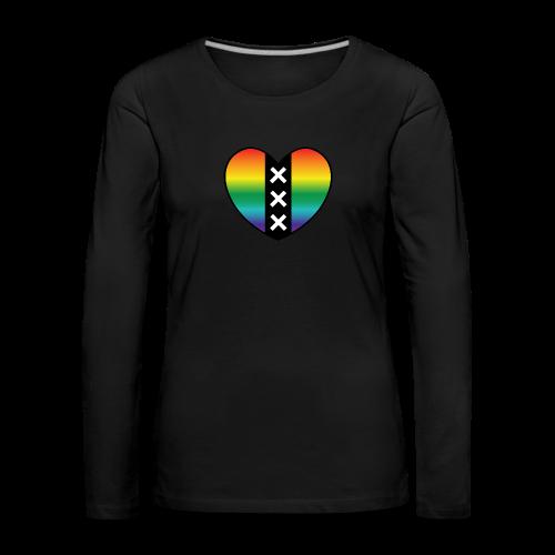 Hart Amsterdam in regenboog kleuren - Vrouwen Premium shirt met lange mouwen
