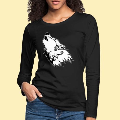 Le Loup de Neved (version contour blanc) - T-shirt manches longues Premium Femme