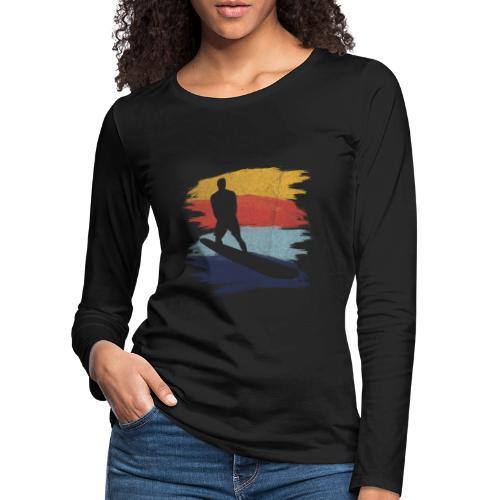 Wellenreiten Retro-Stil, Vintage - Frauen Premium Langarmshirt