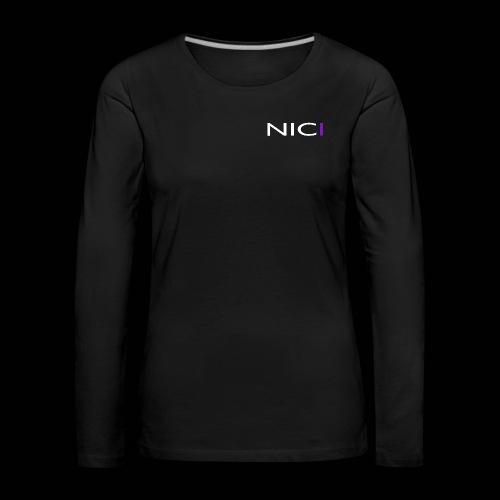 NICI logo WHITE - Naisten premium pitkähihainen t-paita