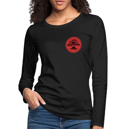 sort logo på rød baggrund med rød ring - Dame premium T-shirt med lange ærmer