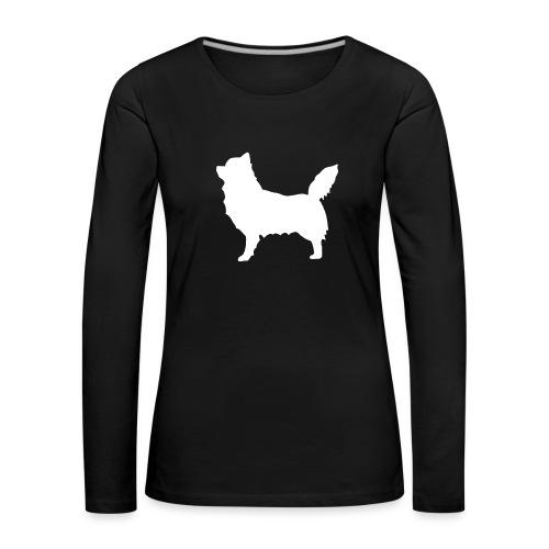 Chihuahua pitkakarva valkoinen - Naisten premium pitkähihainen t-paita