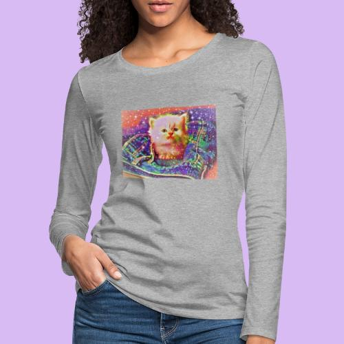 Gattino scintillante nella tasca dei jeans - Maglietta Premium a manica lunga da donna