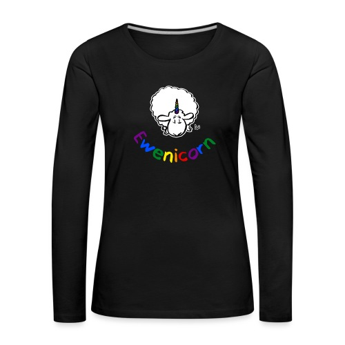 Ewenicorn (black edition rainbow text) - Women's Premium Longsleeve Shirt
