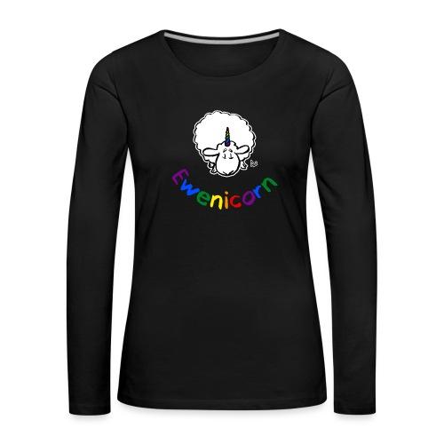 Ewenicorn (regnbuetekst i svart utgave) - Premium langermet T-skjorte for kvinner
