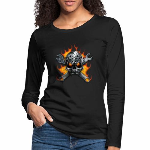 skull with crosstools - Naisten premium pitkähihainen t-paita