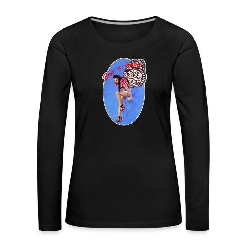 Vintage Rockabilly Butterfly Pin-up Design - Women's Premium Longsleeve Shirt