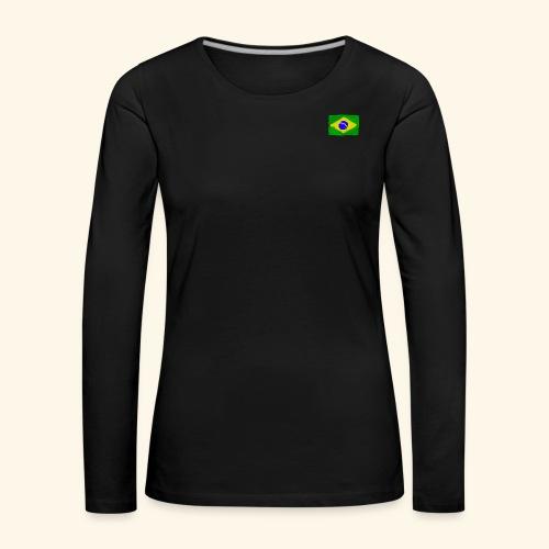 Brazilian flag InWatercolours - Långärmad premium-T-shirt dam