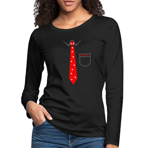 Geek | Schlips Krawatte Wissenschaft Streber - Frauen Premium Langarmshirt