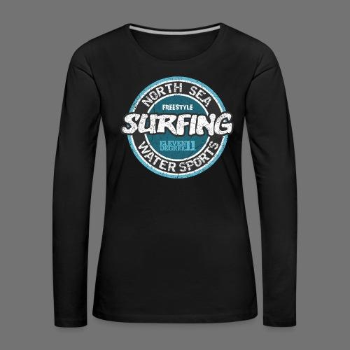 North Sea Surfing (oldstyle) - Dame premium T-shirt med lange ærmer