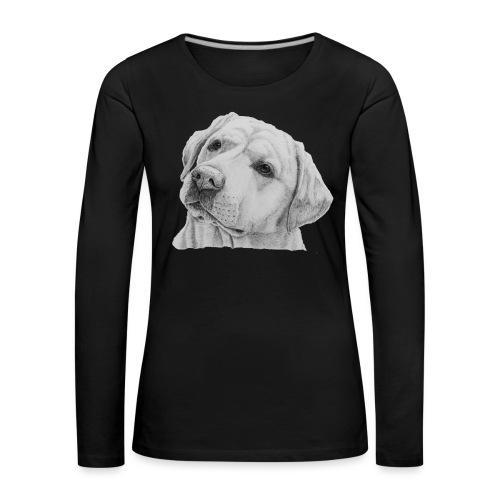 labrador retriever yellow - head - Dame premium T-shirt med lange ærmer