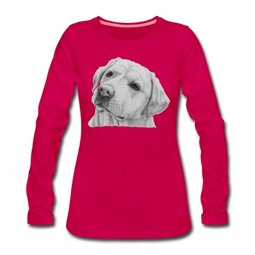 labrador retriever yellow - head - Dame premium T-shirt med lange ærmer