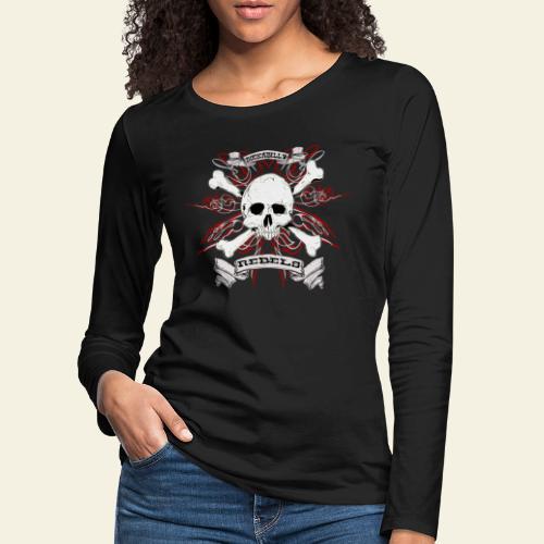 skull - Dame premium T-shirt med lange ærmer