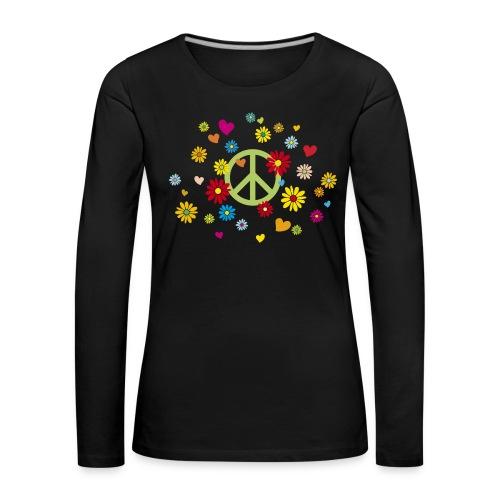 Peacezeichen Blumen Herz flower power Valentinstag - Women's Premium Longsleeve Shirt