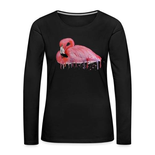 Pink Flamingo Watercolors Nadia Luongo - Maglietta Premium a manica lunga da donna