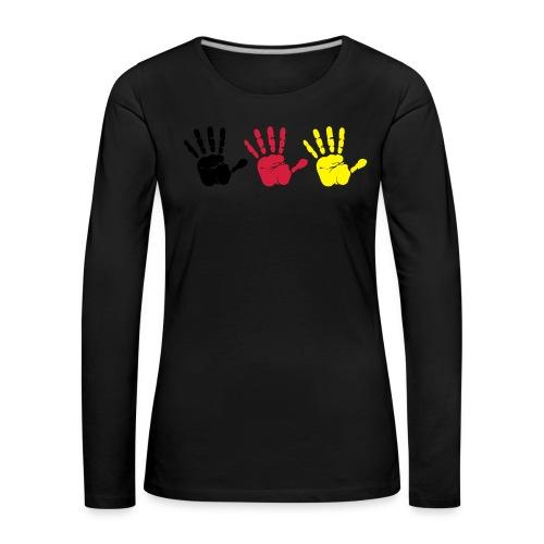 Handabdruck Trio - Frauen Premium Langarmshirt