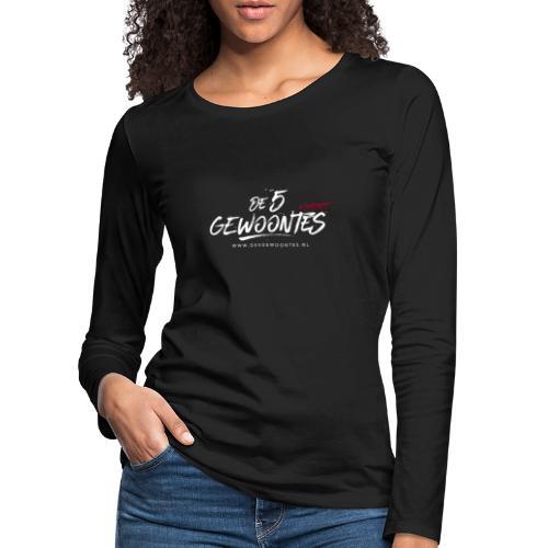 Logo5gewoontes wit transparant - Vrouwen Premium shirt met lange mouwen