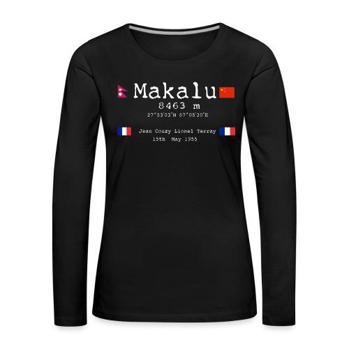Makaluwhite - Maglietta Premium a manica lunga da donna