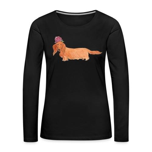 dachshund with flower - Dame premium T-shirt med lange ærmer