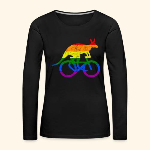 Radfahrer Känguru lustiges Fahrrad Regenbogenfahne - Frauen Premium Langarmshirt