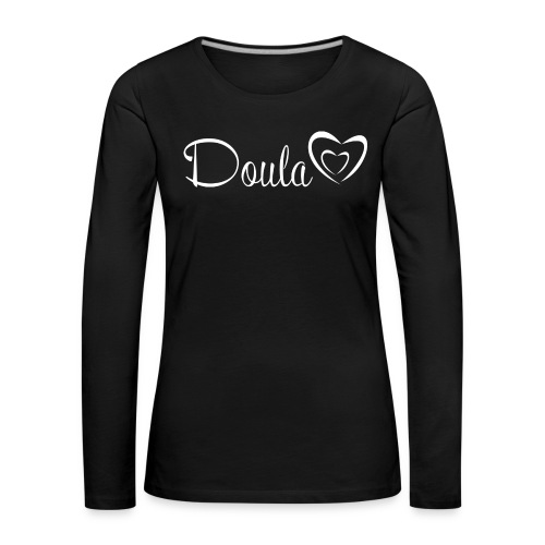 doula sydämet valkoinen - Naisten premium pitkähihainen t-paita