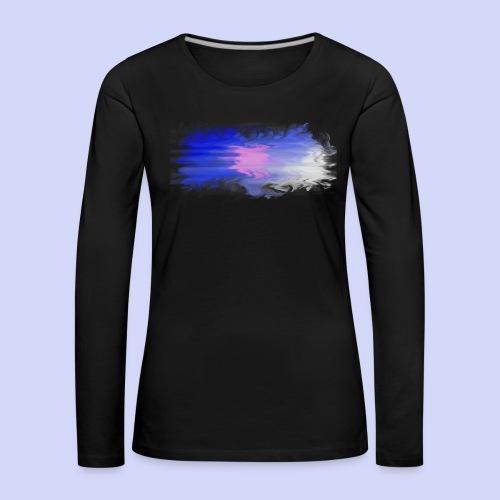 Blue lights - Female shirt - Dame premium T-shirt med lange ærmer