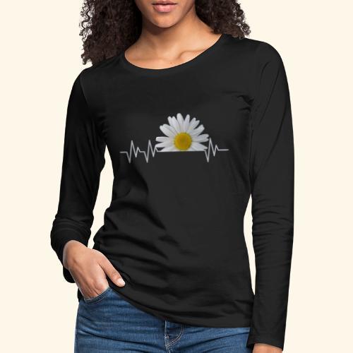 Margerite, Herzschlag, Gänseblümchen, Pulsschlag - Frauen Premium Langarmshirt