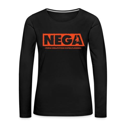 Kapea peruslogo Miehet - Naisten premium pitkähihainen t-paita