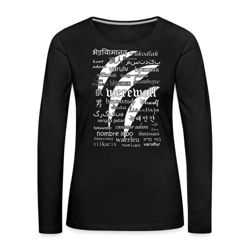 Werewolf in 33 Languages (Black Version) - Koszulka damska Premium z długim rękawem