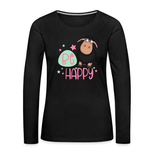 Schwarzes Schaf - be happy Schaf Glückliches Schaf - Frauen Premium Langarmshirt