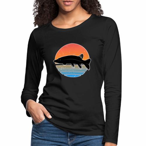 Retro Hecht Angeln Fisch Wurm Raubfisch Shirt - Frauen Premium Langarmshirt