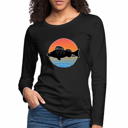 Retro Barsch Angeln Fisch Wurm Raubfisch Shirt - Frauen Premium Langarmshirt