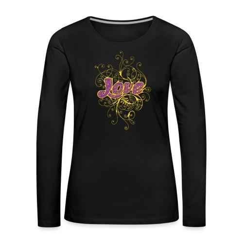 LOVE VIOLA CON DECORI - Maglietta Premium a manica lunga da donna