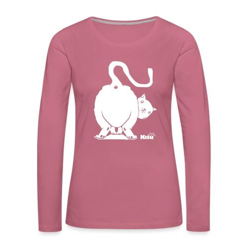 pyllykissa valkoinen - Naisten premium pitkähihainen t-paita