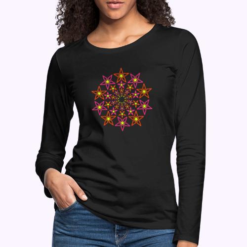 fractal estrella 3 color neón - Camiseta de manga larga premium mujer