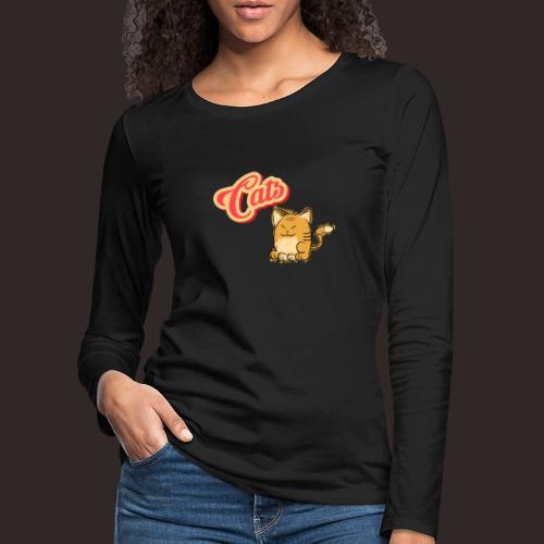 Katze | Katzen süß Schriftzug - Frauen Premium Langarmshirt