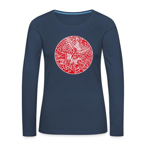 GlobeDesign-red - Dame premium T-shirt med lange ærmer