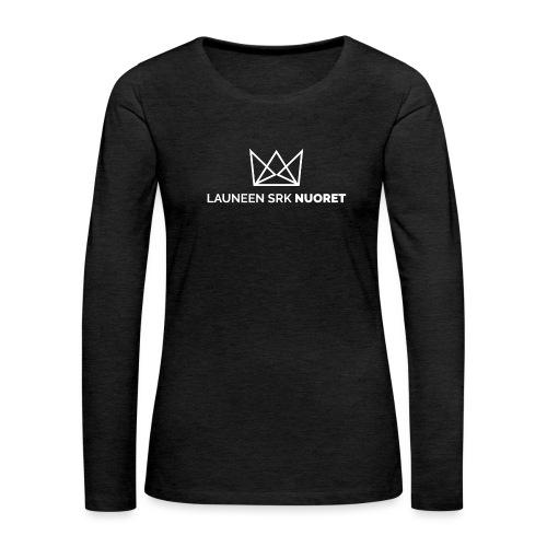Laune logo tekstialla white png - Naisten premium pitkähihainen t-paita