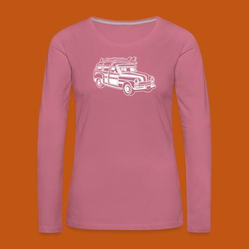 Chevy Cadilac Woodie / Oldtimer Kombi 01_weiß - Frauen Premium Langarmshirt