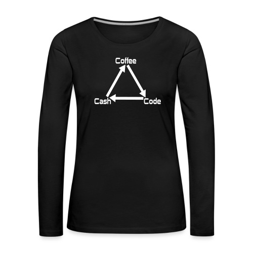 Coffee Code Cash Softwareentwickler Programmierer - Frauen Premium Langarmshirt