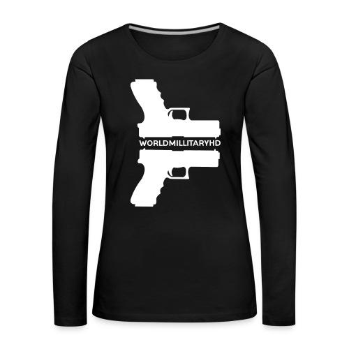WorldMilitaryHD glock design (white) - Vrouwen Premium shirt met lange mouwen
