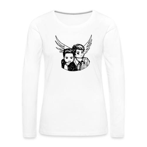Destiel i sort/hvid - Dame premium T-shirt med lange ærmer